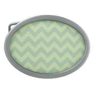 Green ZigZag pattern Oval Belt Buckle