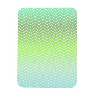 Green zigzag pattern rectangular photo magnet