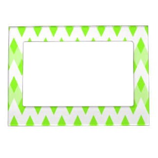 Green Zigzag Pattern with Diamond Shapes. Magnetic Photo Frames