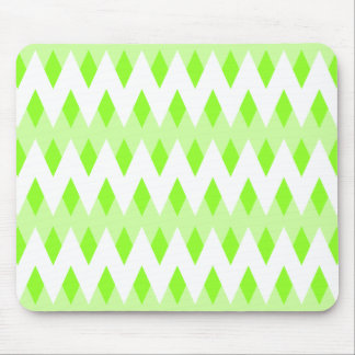 Green Zigzag Pattern with Diamond Shapes. Mouse Pad