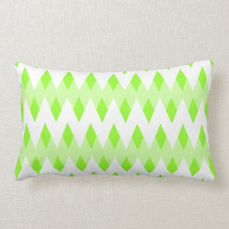 Green Zigzag Pattern with Diamond Shapes. Throw Pillow