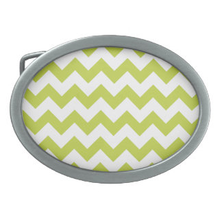 Green Zigzag Stripes Chevron Pattern Belt Buckle