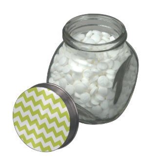 Green Zigzag Stripes Chevron Pattern Glass Candy Jars