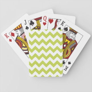 Green Zigzag Stripes Chevron Pattern Playing Cards