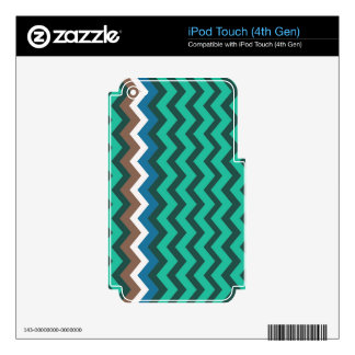 Green Zigzags With Manly Border Skin For iPod Touch 4G