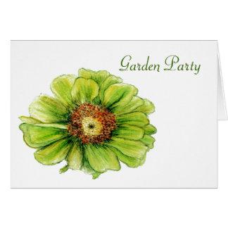 GREEN ZINIA FLOWER GARADEN PARTY INVITATION CARDS