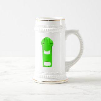 Green Zipper 18 Oz Beer Stein
