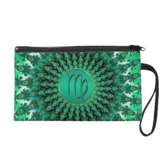 Green Zodiac Sign Virgo Fractal Mandala Wristlets