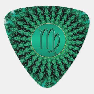 Green Zodiac Sign Virgo Fractal Mandala Guitar Pick