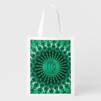 Green Zodiac Sign Virgo Fractal Mandala Grocery Bag