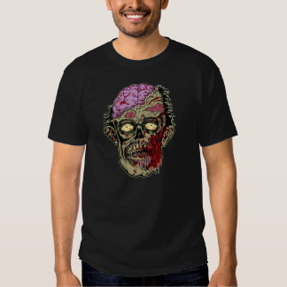GREEN ZOMBIE HEAD WITH BRAINS--ROTTEN!! T-SHIRT