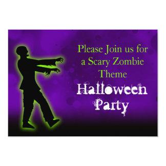 Green Zombie on Purple 5x7 Paper Invitation Card