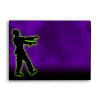 Green Zombie on Purple Envelopes