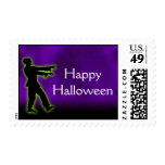Green Zombie on Purple Postage Stamps