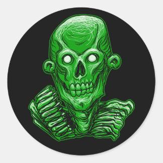 Green Zombie Skull Head Sticker