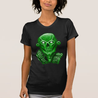 Green Zombie Skull Head T Shirt