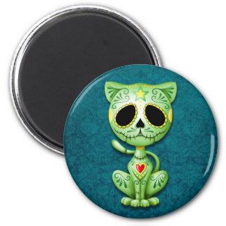 Green Zombie Sugar Kitten 2 Inch Round Magnet