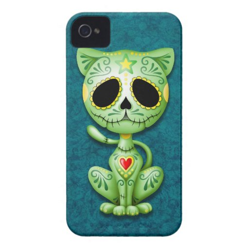 Green Zombie Sugar Kitten iPhone 4 Case