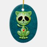 Green Zombie Sugar Kitten Christmas Tree Ornaments