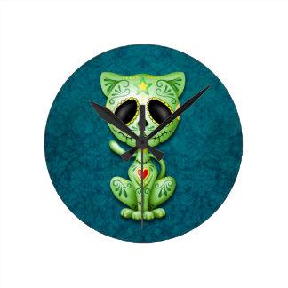 Green Zombie Sugar Kitten Round Clock