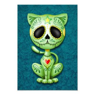 Green Zombie Sugar Kitten Invitation
