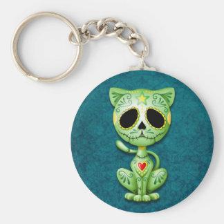 Green Zombie Sugar Kitten Basic Round Button Keychain