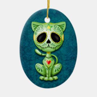 Green Zombie Sugar Kitten on Blue Ceramic Ornament