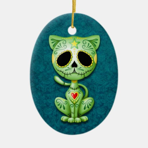 Green Zombie Sugar Kitten Double-Sided Oval Ceramic Christmas Ornament