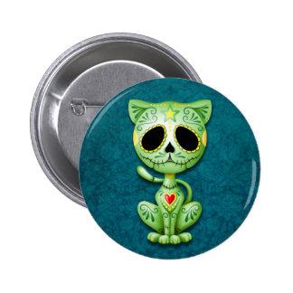 Green Zombie Sugar Kitten Pinback Button
