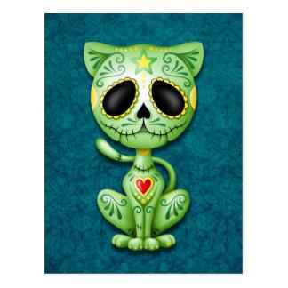 Green Zombie Sugar Kitten Post Cards
