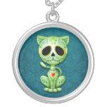 Green Zombie Sugar Kitten Round Pendant Necklace
