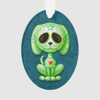 Green Zombie Sugar Puppy Dog on Blue