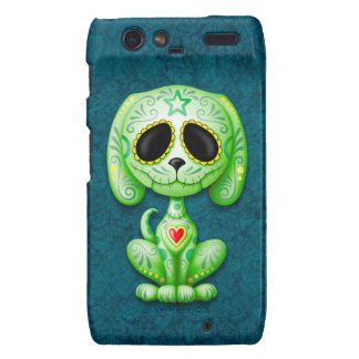 Green Zombie Sugar Puppy Dog on Blue Motorola Droid RAZR Covers