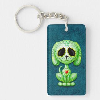 Green Zombie Sugar Puppy Dog on Blue Keychain