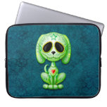 Green Zombie Sugar Puppy Dog on Blue Laptop Computer Sleeve