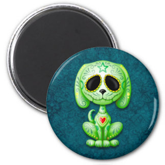 Green Zombie Sugar Puppy Dog on Blue Refrigerator Magnets