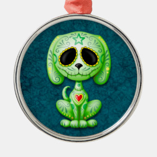 Green Zombie Sugar Puppy Dog on Blue Christmas Ornament