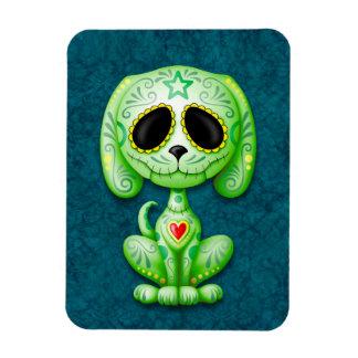 Green Zombie Sugar Puppy Dog on Blue Magnet