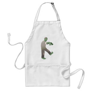 Green Zombie Walking Slowly with Arms Out in Front Apron
