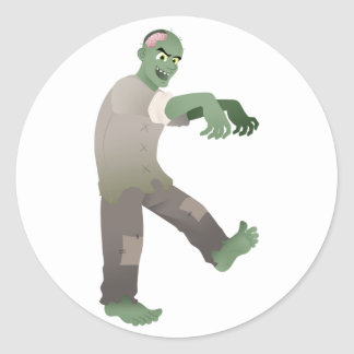 Green Zombie Walking Slowly with Arms Out in Front Classic Round Sticker