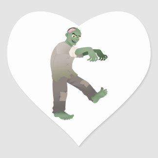 Green Zombie Walking Slowly with Arms Out in Front Heart Sticker