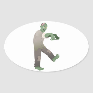 Green Zombie Walking Slowly with Arms Out in Front Oval Sticker