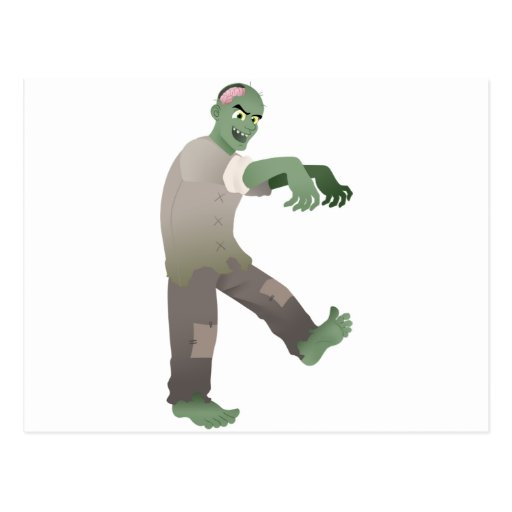 Green Zombie Walking Slowly with Arms Out in Front Post Cards