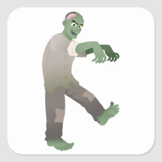 Green Zombie Walking Slowly with Arms Out in Front Square Sticker