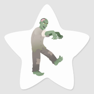 Green Zombie Walking Slowly with Arms Out in Front Star Sticker