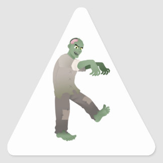 Green Zombie Walking Slowly with Arms Out in Front Triangle Sticker
