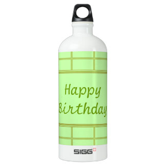 GREEN Zone : EDITABLE Greeting Text Water Bottle