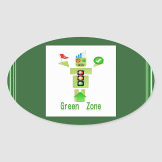 GREEN Zone Oval Sticker