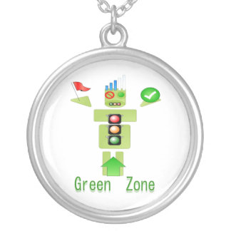 GREEN ZONE Traffice Protection Round Pendant Necklace