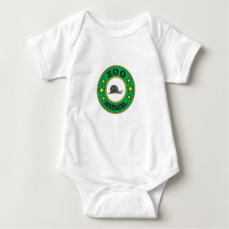 green zoo animal tag baby bodysuit